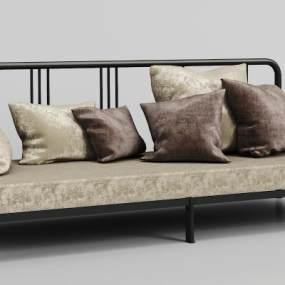 现代金属绒布沙发3D模型【ID:634464608】