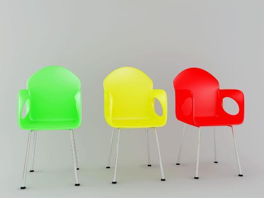 現代簡約塑料椅3D模型【ID:744521122】