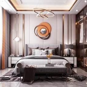 現代輕奢風格臥室3D模型【ID:543835224】