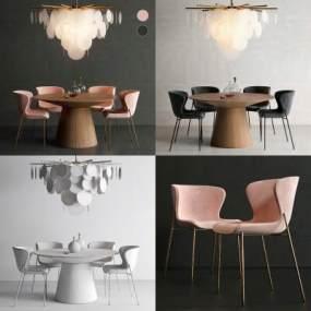 北欧餐桌椅3D模型【ID:842898886】