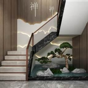 新中式楼梯3D模型【ID:353722596】