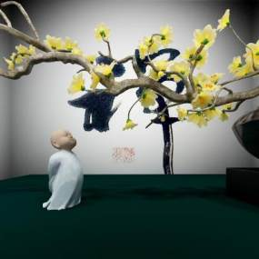 新中式和尚与树禅道3D模型【ID:235616543】