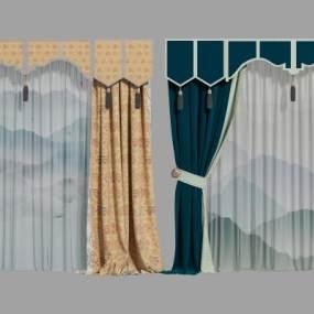 新中式窗帘组合3D模型【ID:244105654】
