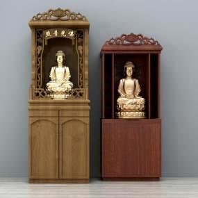 新中式实木佛龛佛像3D模型【ID:330544551】