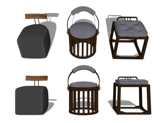 新中式矮凳墩子组合SU模型【ID:853720689】