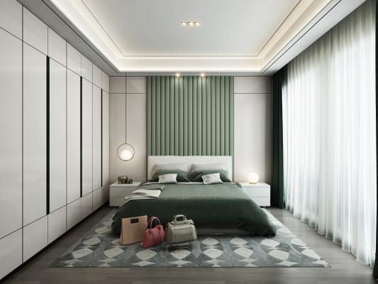 現代極簡臥室3D模型【ID:550666281】