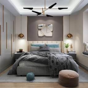 现代卧室3D模型【ID:533743263】