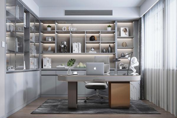 现代风格书房 书柜 办公桌