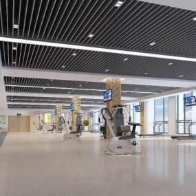 现代公司大健身房3D模型【ID:732934867】