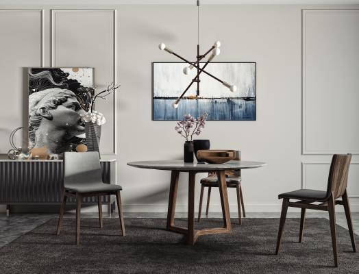 现代圆形餐桌椅 餐椅 大理石餐桌