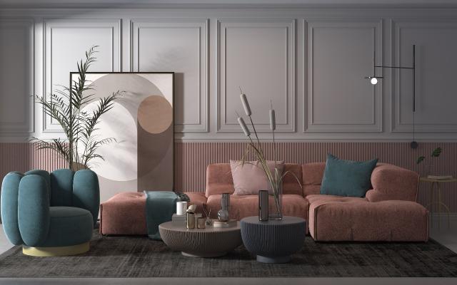 北歐組合沙發3D模型【ID:653770794】