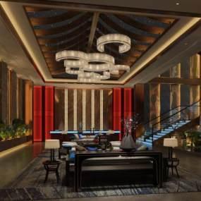 酒店前厅宴会厅 3D模型【ID:740659041】