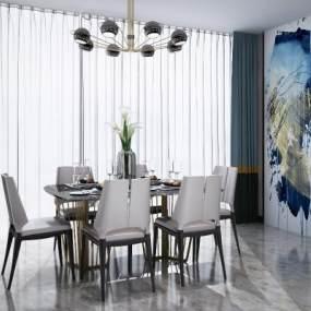 后现代轻奢餐桌椅吊灯组合3D模型【ID:836218834】