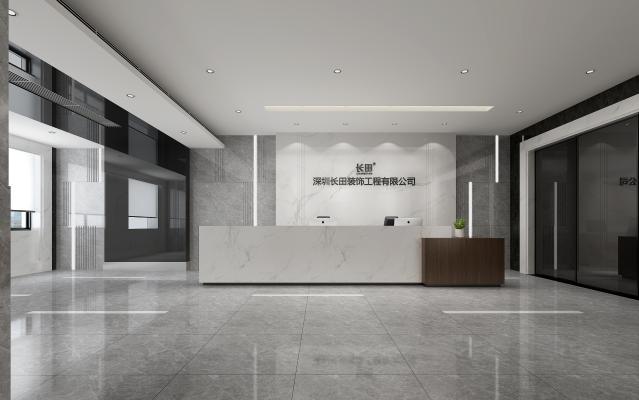 现代办公室前台3D模型【ID:941498234】