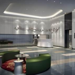 现代酒店过道3D模型【ID:734547621】