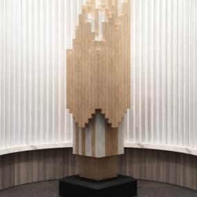 现代抽象大堂装饰摆件3D模型【ID:235765594】