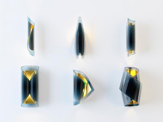 后现代玻璃金属壁灯组合3D模型【ID:733329929】