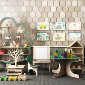 现代儿童玩具边柜摆设组合3D模型【ID:335765488】