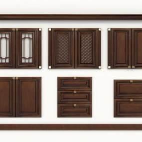 新中式橱柜门组合3D模型【ID:131986741】