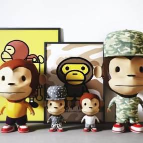 現代嘻哈大嘴猴兒童玩具裝飾擺設組合3D模型【ID:252290521】