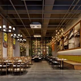 工业风时尚奢华餐厅3D模型【ID:636023900】