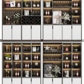 现代酒柜组合3D模型【ID:649428248】