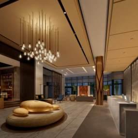 新中式酒店大堂3D模型【ID:753222081】