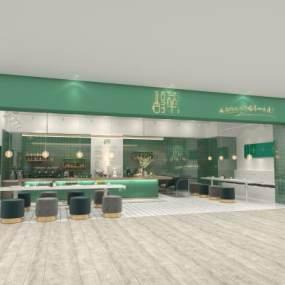 北欧奶茶咖啡店极简风 3D模型【ID:637126399】