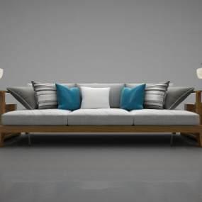 新中式风格沙发3D模型【ID:645672649】