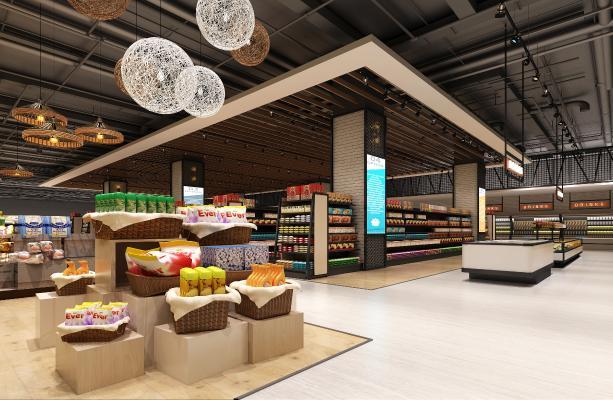 現代超市3D模型【ID:143282129】