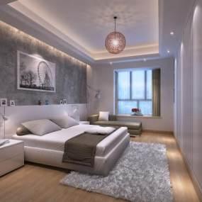 现代卧室3D模型【ID:534837208】