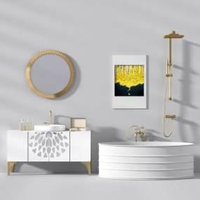 现代洗手台浴缸花洒3D模型【ID:638413472】