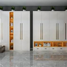 现代白色简约衣柜3D模型【ID:136031431】