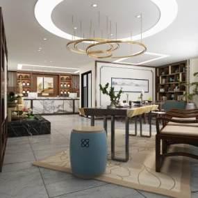 新中式酒店大厅3D模型【ID:743456030】