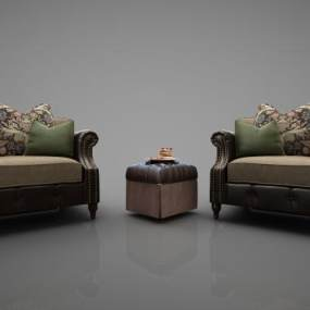 美式沙发茶几组合 3D模型【ID:642115495】