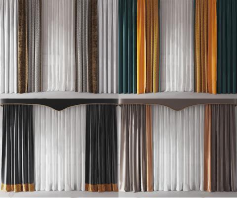 現代窗簾窗紗組合3D模型【ID:252228662】
