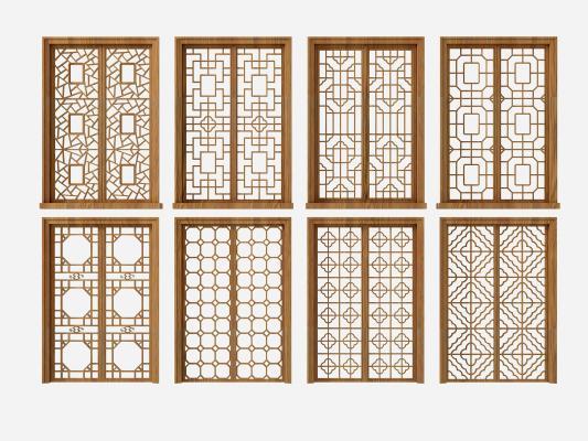 新中式花格門窗組合3D模型【ID:334471294】