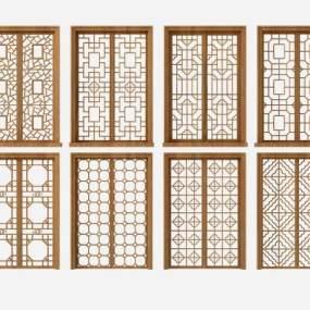 新中式花格门窗组合3D模型【ID:334471294】