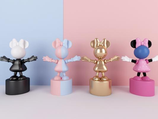 现代米老鼠卡通雕塑3D模型【ID:342110059】