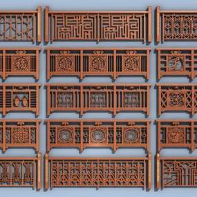 传统中式护栏组合3D模型【ID:335847450】