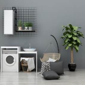 现代阳台洗衣机洗衣池吊椅盆栽组合3D模型【ID:230609616】