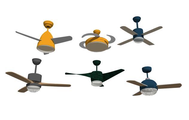 現代北歐風扇吊燈組合SU模型【ID:348378844】