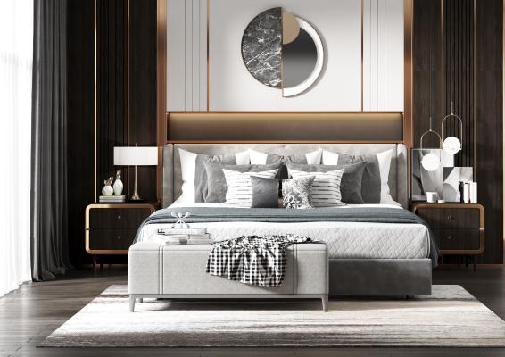 现代双人床组合 床 床头柜