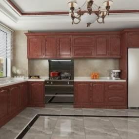 美式厨房3D模型【ID:543506333】