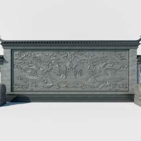 中式双龙夺珠景墙3D模型【ID:132951467】