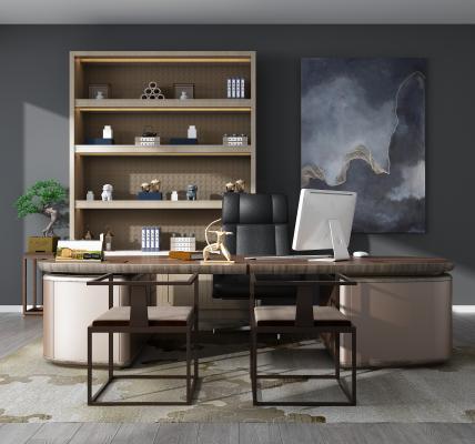 新中式办公桌椅组合3D模型【ID:943280126】