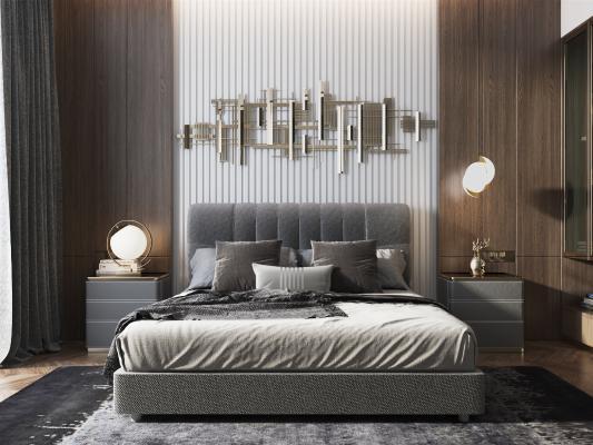 現代雙人床組合3D模型【ID:648324137】