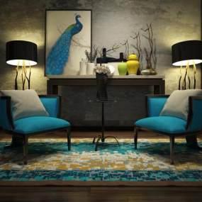 新中式沙发椅3D模型【ID:730760073】