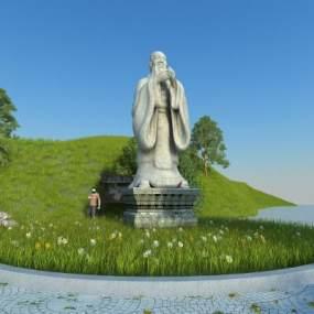 中式孔子雕像3D模型【ID:353165109】