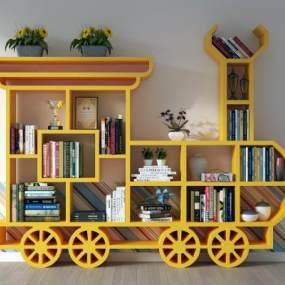 现代儿童书柜3D模型【ID:154035561】
